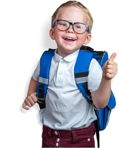 a smiling kid with a blue bag
